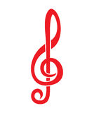 Treble clef. Vector illustration of the red treble clef Stock Images