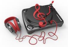 Treble clef vinyl player concept Royalty Free Stock Image
