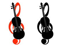 Treble clef and violin Royalty Free Stock Image