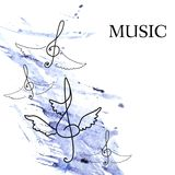 Treble clef with wings on blue watercolor background. Stock Images