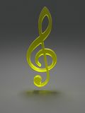 Treble clef from yellow glass Royalty Free Stock Photography