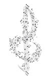 Treble Cleff and music notes Royalty Free Stock Images