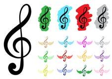 Treble clefs clipart. Conceptual illustration with various multi-colored treble clefs Stock Image