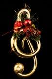 Treble Key christmas Tree with Black Backround Royalty Free Stock Photos