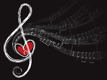 Treble love and music notes. Illustration