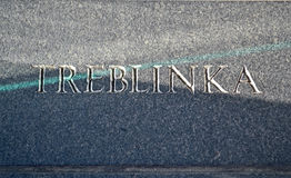 Treblinka text closeup on stone wall, Royalty Free Stock Photos