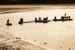 TREBON, RÉPUBLIQUE TCHÈQUE - décembre 2014 - pêchent la récolte Images stock