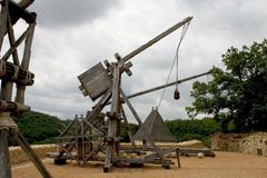 Trebuchets in Castelnaud, Frankreich Stockfotos