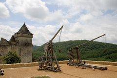 Trebuchets em Castelnaud, France Foto de Stock Royalty Free