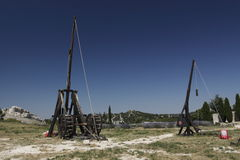 Trebuchets in Les Baux de Provence Stock Photo
