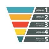Trechtersymbool Infographic of Webontwerpelement Malplaatje voor marketing, omzetting of verkoop Kleurrijke vectorillustratie royalty-vrije illustratie