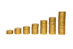 Trede aan rijkdom van gouden muntstukken stock foto's