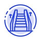 Trede, Lift, Elektrisch, de Lijnpictogram van de Ladder Blauw Gestippelde Lijn vector illustratie