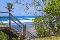 Treden aan een tropisch strand Stock Fotografie