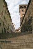 Treden aan het Kasteel van Praag Praag, Tsjechische Republiek Stock Fotografie