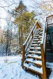 Treden behandeld sneeuwhuis in voorsteden in de winter royalty-vrije stock foto