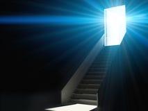 Treden die naar het licht stijgen vector illustratie