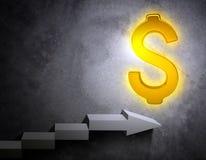 Treden die tot gouden dollarteken leiden stock illustratie