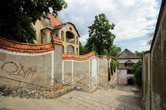 Treden en historische Villa Eugenie en Otto Primavesi Stock Foto