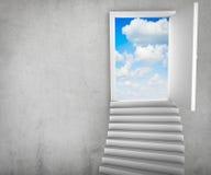 Treden en magische deuren die tot een cloudscape leiden stock illustratie