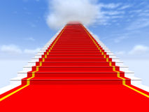 Treden, rood tapijt, de hemel met wolken Royalty-vrije Stock Foto's