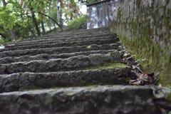 Treden tot de bovenkant van de berg dichtbij de tempel royalty-vrije stock afbeelding