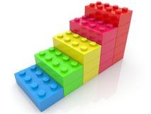 Treden van kleurrijke stuk speelgoed bakstenen stock illustratie