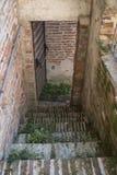 Treden van stadsmuur in Cittadella, Italië stock foto