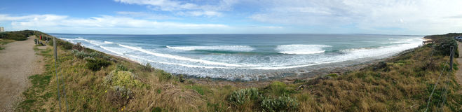 Tredicesimo panorama di bluff della spiaggia Fotografie Stock