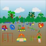 Tredici elementi variopinti di un campo da giuoco del ` s dei bambini Fotografia Stock