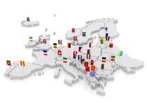 Tredimensionell översikt av Europa. Arkivfoton