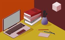 Tredimensionell isometrisk bild i röda och gula färger, på ämnet av skola, affär, vetenskap, utbildning vektor illustrationer