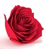 Tredimensionell röd ros på en vit bakgrund Arkivfoto