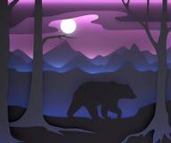 Tredimensionell sammansättning med en björn och månen stock illustrationer