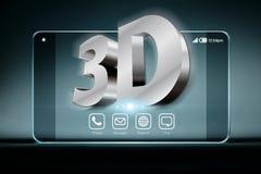 Tredimensionella formuleringar på den genomskinliga smartphonen Royaltyfri Fotografi