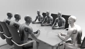 Tredimensionellt mänskligt affärsmöte Royaltyfria Foton