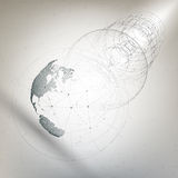 Tredimensionellt prickigt världsjordklot med abstrakt konstruktion och molekylar på grå bakgrund, låg poly designvektor vektor illustrationer