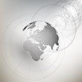 Tredimensionellt prickigt världsjordklot med abstrakt konstruktion på grå bakgrund, vektorillustration Royaltyfria Bilder
