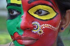 Treditional obrazu Indiańscy projekty na twarzy Obrazy Stock