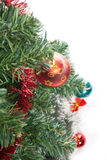 Tree. Christmas tree with decorations isolated on white background Stock Photos