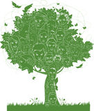 Tree. Vector illustration of a family tree made of faces Royalty Free Stock Image