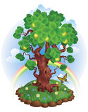 Tree. Vector illustration of apple-tree on a grass with flowers and with clouds and rainbow on the background Royalty Free Stock Photography