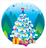 Tree. Bright Christmas party, gifts, hope, love Stock Images