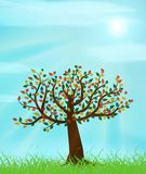 Tree. Summer landscape with old tree and blue sunny sky illustration Royalty Free Illustration