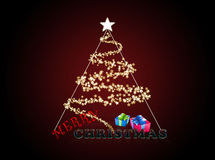 Tree_2. Christmas Tree formed from Stars - red christmas background Stock Photos