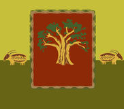Tree. And two rams artistic and styled Royalty Free Stock Photos