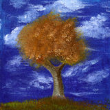 Tree. Oil painting of the autumn tree with blue sky with clouds and grass Royalty Free Stock Images