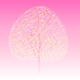 Tree. Pink background illustration with cherry tree Stock Illustration