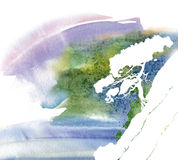 Tree. A white sheet of paper with bright splashes of watercolors Royalty Free Stock Image