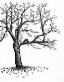 Tree. Blooming tree with birds - drawing Royalty Free Stock Photo